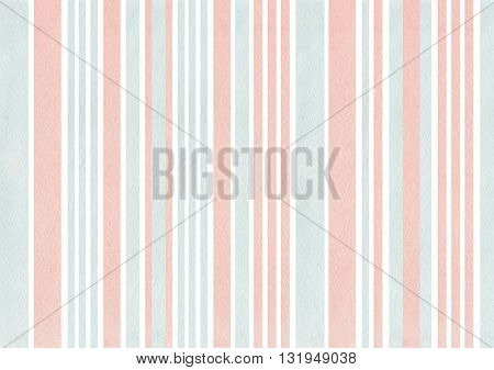 Watercolor Pink And Blue Stripes Background.