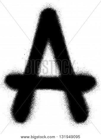 sprayed A font graffiti in black over white