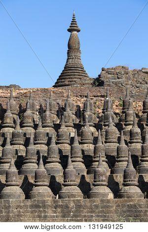 Small pagodas at Kothaung Temple Mrauk U Rakhine state Myanmar Burma