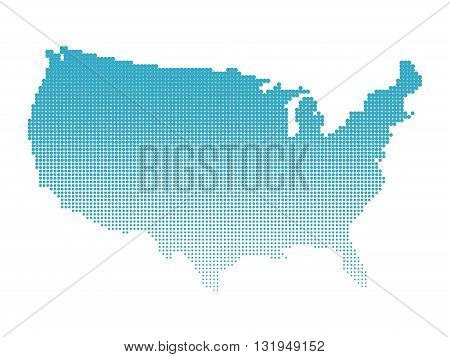 Halftone map of USA. Map of United States of America made of dots. Blue illustration on white background.