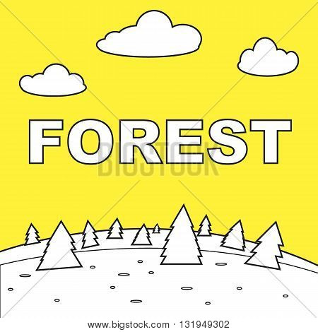 Vector illustration of a forest on a yellow background