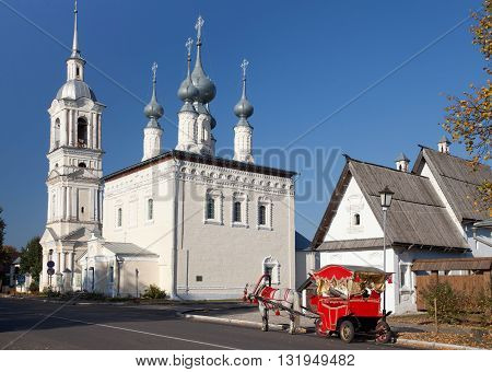 SUZDAL, RUSSIA - SEPTEMBER 19, 2014: The Church of the Smolensk icon of the mother of God with belltower. Suzdal. Russia