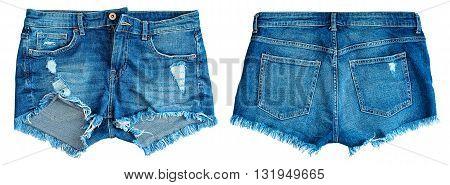 Blue denim shorts on a white background .