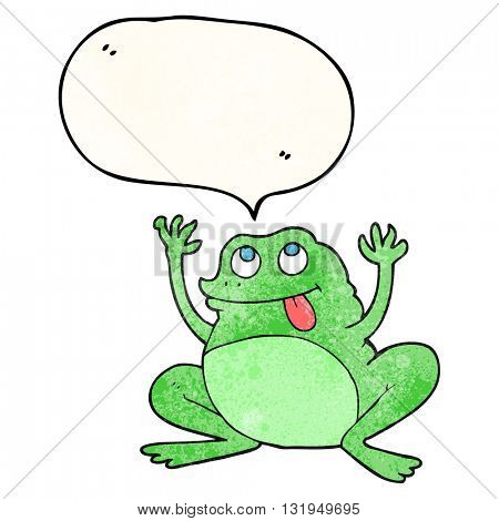 funny freehand speech bubble textured cartoon frog