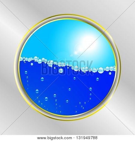 Yellow Border Over Gray Background with Water Bubbles and Sunny Sky
