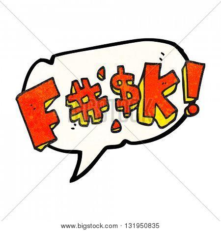 freehand speech bubble textured cartoon swearword