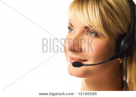 Friendly hotline operator isolated on white background