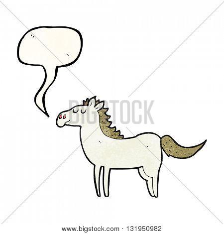 freehand speech bubble textured cartoon horse