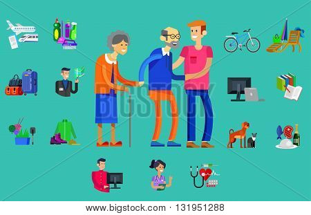 vector detailed character senior, senior age with caregiver. Old age couple and icons. Pension hobbies and interests leisure of pensioner