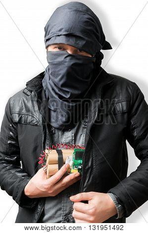 Terrorist Puts Dynamite Bomb In Jacket. Terrorism Concept. Isola
