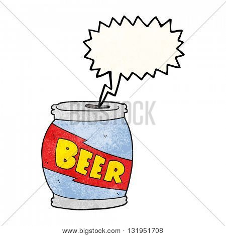 freehand speech bubble textured cartoon beer can