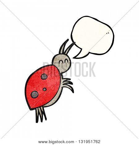 freehand speech bubble textured cartoon ladybug