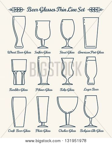 Beer glassware line icons. Beer glasses and goblets thin line signs. Vector illustration