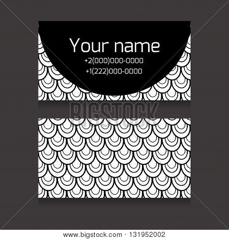 Set of black and white double-sided business card with space for your text with fish scale for your business