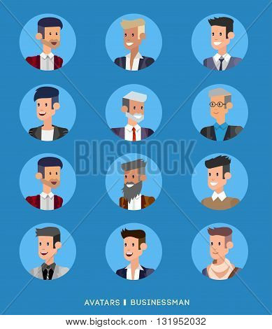 Cute cartoon human avatars set, big male faces collection. Vector detailed character avatar business man, business people avatars, men avatars.  Business man avatar