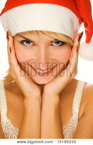Mrs. Santa dreaming about Christmas presents isolated on white background