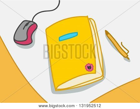 Vector illustration with notebook mouce pen yellow