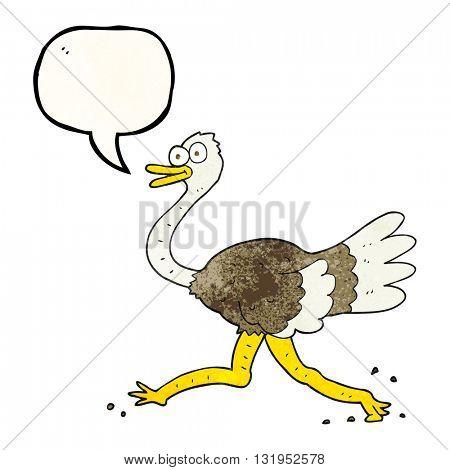 freehand speech bubble textured cartoon ostrich