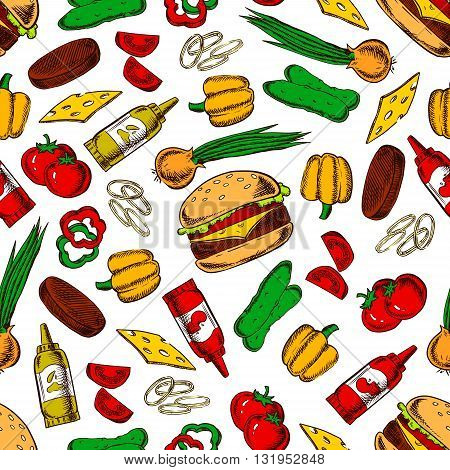 Pattern of homemade cheeseburgers with fresh vegetables and condiments. Seamless background of cheeseburgers with cheese and meat, tomatoes and cucumbers, peppers and onions vegetables, ketchup and mustard bottles