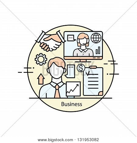 Modern thin line icons for business and management. Vector illustration with different elements on the subject of business and management. Graphic element for business companies.