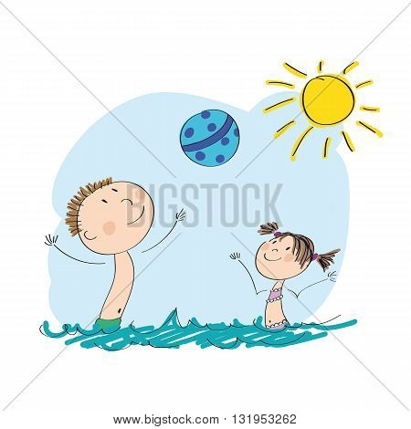 Daddy and his kid playing with ball in the water - original hand drawn illustration