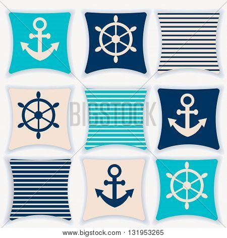 A set of blue cushions, blue and white colors, nautical theme, interior vector illustration