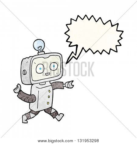 freehand speech bubble textured cartoon robot
