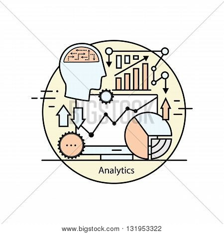 Modern color thin line concept analytics. Vector illustration with different elements on the subject of intelligence. Graphic element for analytical companies.