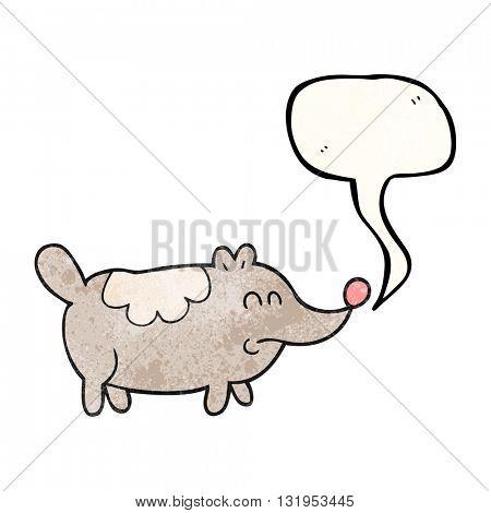 freehand speech bubble textured cartoon small fat dog