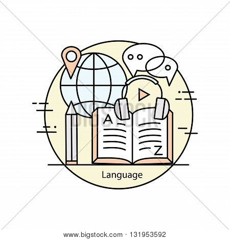 Modern color thin line concept of learning foreign languages, language training school. Vector illustration with different elements on the theme of languages. Graphic element for schools and colleges.