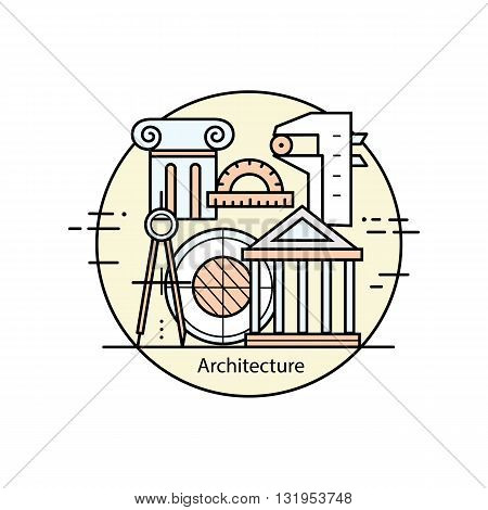 Modern color thin line art design architecture and construction. Vector illustration with different elements on the theme of architecture. Graphic element for schools and universities.