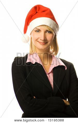 Young beautiful business woman in Christmas hat