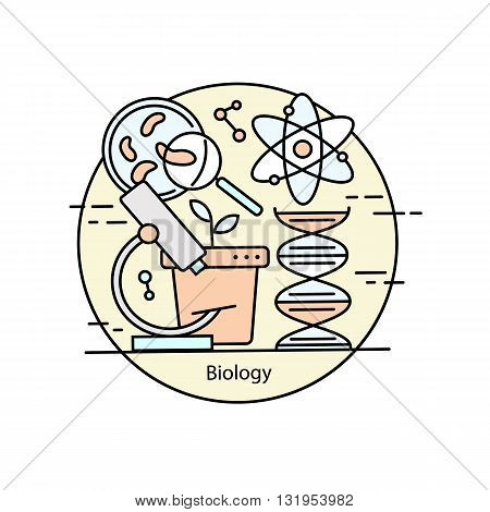 Modern color thin line concept of biology for school, university and training. Vector illustration with different elements on the subject biology. Logo Concepts for Trendy Designs.