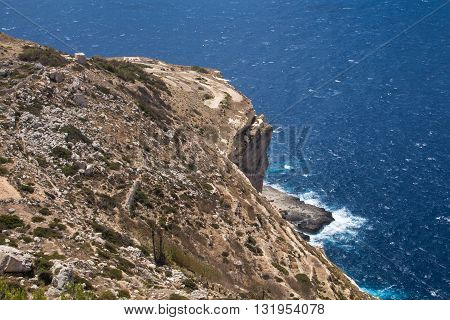 Dingli Cliffs one of the most beautiful parts of the shore at the island Malta. Water of the Mediterranean sea.