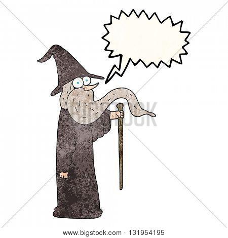 freehand speech bubble textured cartoon wizard