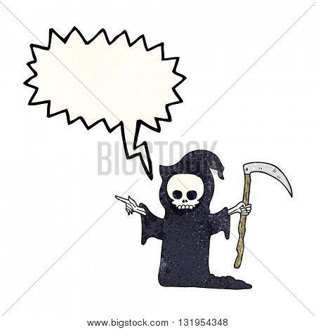 freehand speech bubble textured cartoon death with scythe