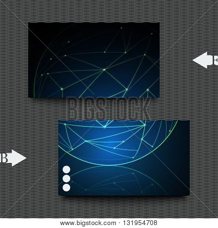 Business card template with abstract background.  Graphic illustration.
