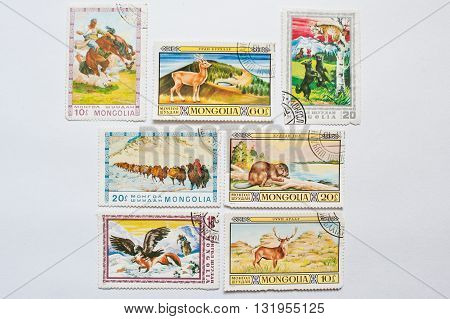 Uzhgorod, Ukraine - Circa May, 2016: Collection Of  Post Stamps Printed In Mongolia,  Shows Differen