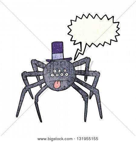 freehand speech bubble textured cartoon halloween spider in top hat