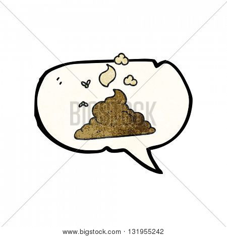 freehand speech bubble textured cartoon steaming pile of poop