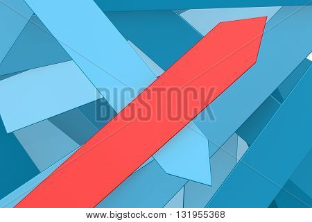 Group of blue arrows and red arrow pointing upward image, 3D rendering