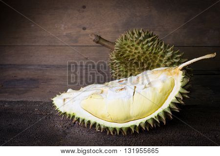 Yellow Durian On Wooden Background
