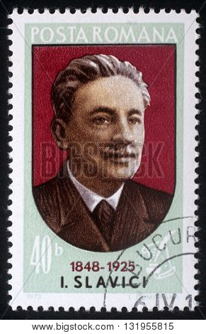ZAGREB, CROATIA - JULY 18: a stamp printed in Romania shows Ioan Slavici (1848-1925) Transylvanian-born Romanian writer and journalist, circa 1973, on July 18, 2012, Zagreb, Croatia