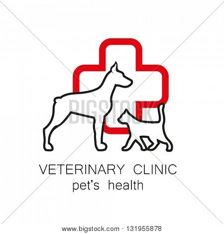 Veterinary medicine - logo design template for veterinary clinic. vector logo Vector logo template. Idea for veterinary, pet shop, pet clinic, pet care, or other pet help and etc.