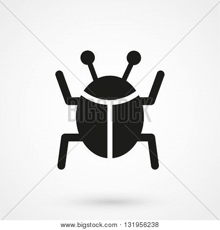 Bug Icon Black Vector On White Background