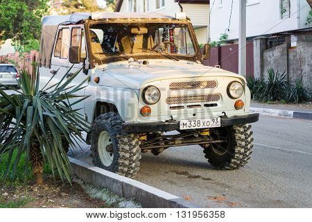 SOCHI RUSSIA - APRIL 29 2016: UAZ Hunter legendary russian jeep parked in the streets of Sochi.