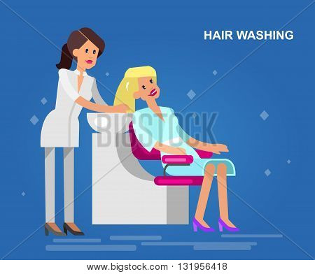 Detailed character Barber makes a hair washing for glamorous girl, beautiful smiling blond woman. Web banner template  for beauty saloon