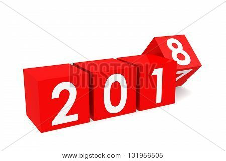 Year 2018 on the red cubes isolated on white 3D rendering
