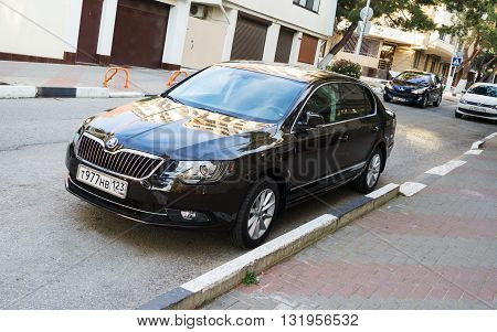 SOCHI, RUSSIA - APRIL 29 2016: Skoda Superb parked in the streets of Sochi. Business-class сzech auto.