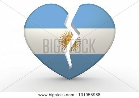 Broken White Heart Shape With Argentina Flag